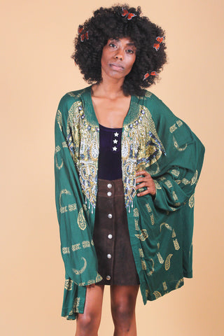 Vintage Moss Mountain Wool Poncho