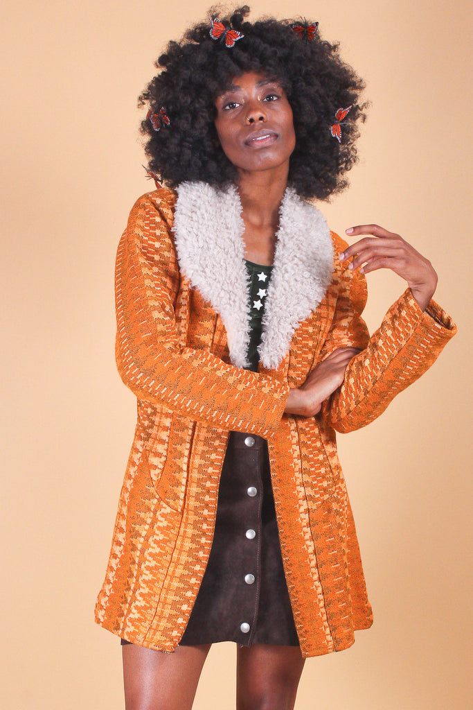 Vintage 1970's Taste of Tangerine Faux-Fur Coat