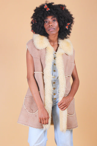 Vintage 1970's Heather Honey Suede Embroidered Faux-Fur Coat