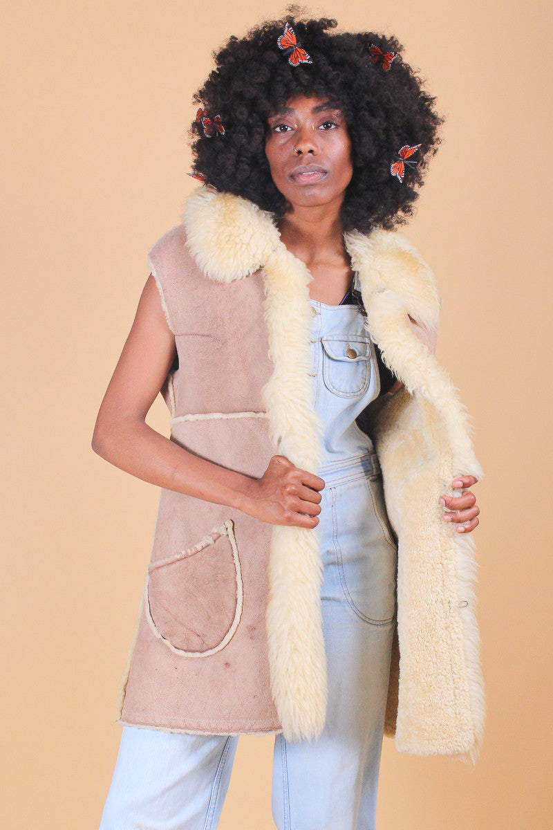 Vintage 1970's Castles Made of Sand Sheepskin Fur Vest