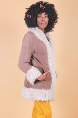 Vintage Penny Lane Suede Fur Coat in Chocolate