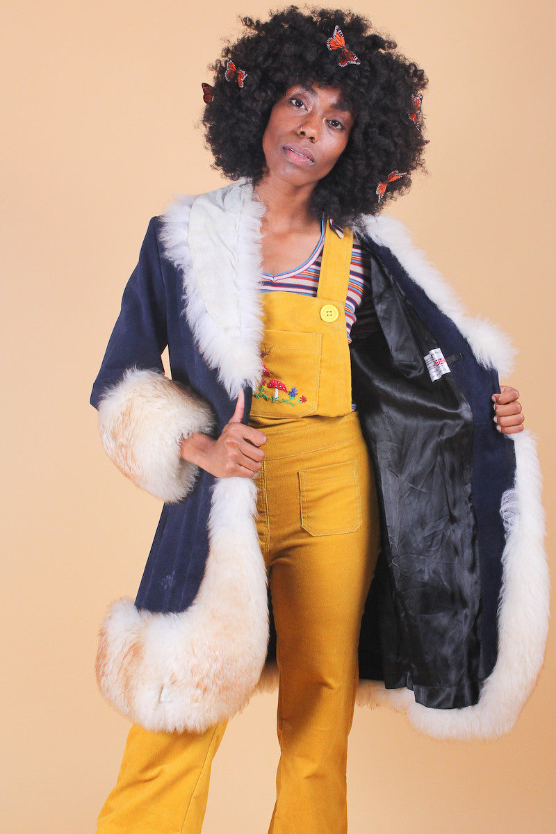 Vintage 1970's San Francisco Bay Blues Suede Fur Coat