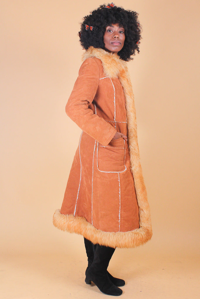 Vintage 1970's Honey Bee Vegan Suede Fur Coat