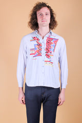 Vintage 1970's Psychedelic Maze Embroidered Shirt