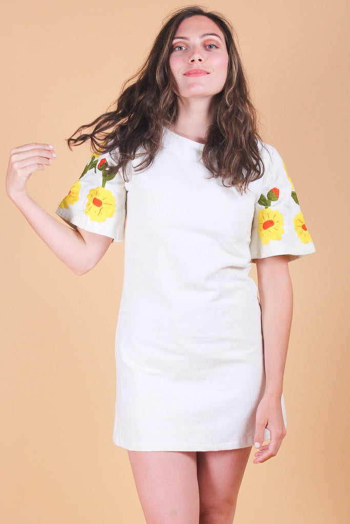 Vintage 1970's Sunshine Daydream Embroidered Mini-Dress
