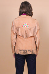 Vintage 1970's Rainbow Cloud Suede Fringe Jacket