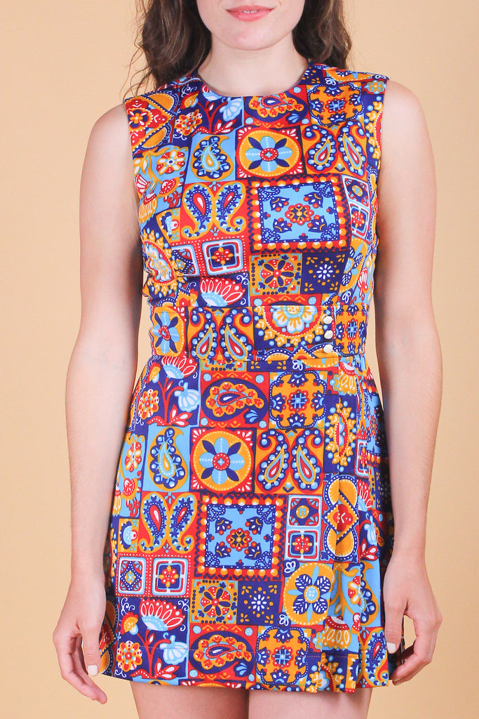 Vintage 1960's Songbird Paisley Mini-Dress