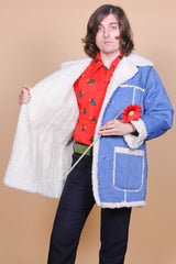 Vintage 1970's Chattanooga Denim Shearling Coat