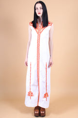 Vintage Moroccan Sun Embroidered Maxi Dress