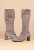 Vintage 1960's Nancy Sinatra Grey Suede Knee-High Boots