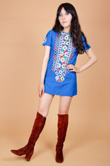 Vintage 1960's Rishikesh Magic Embroidered Mini-Dress