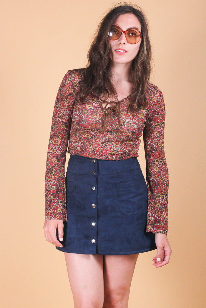 Vintage Rhiannon Paisley Lace-Up Top