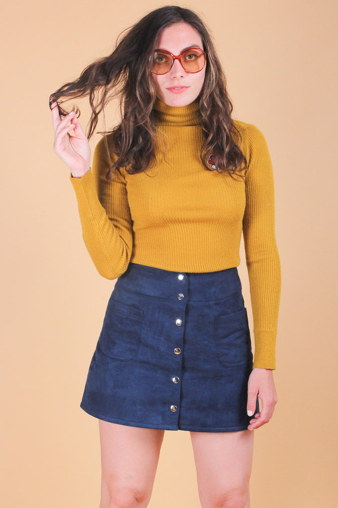 Delilah Vegan Suede Skirt in Blueberry