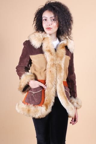 Vintage Fire In The Sky Suede Fur Coat