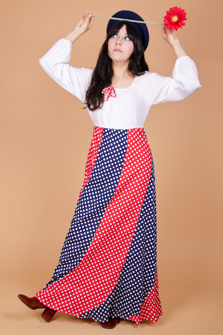 Vintage 1970's Polka Pop Dream Maxi-Dress