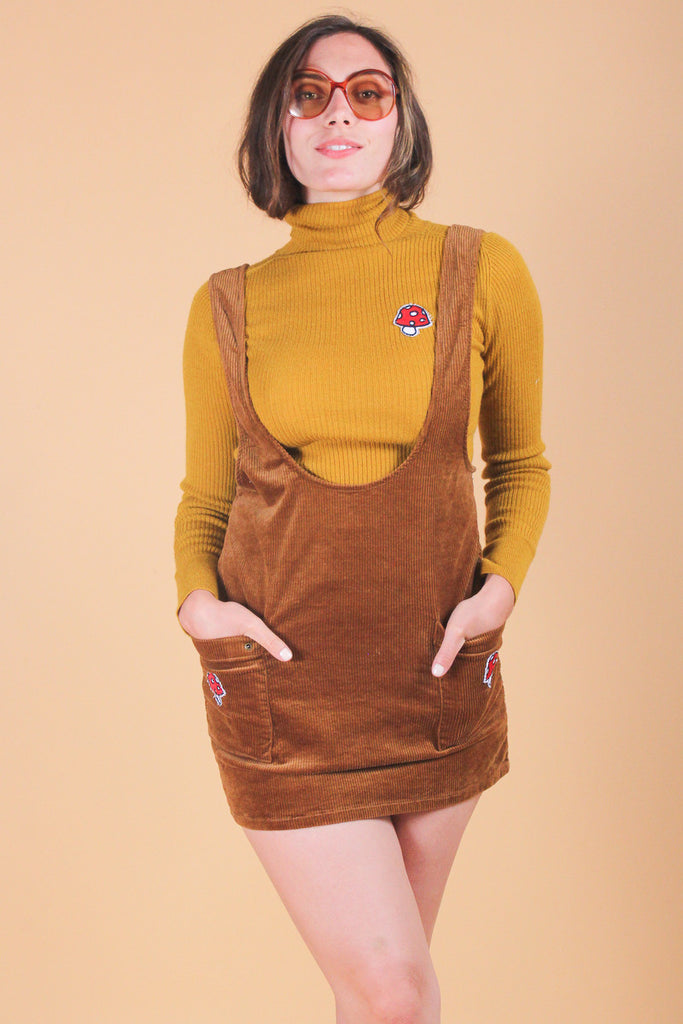 Vintage Mushroom Twins Mini-Pinafore Dress