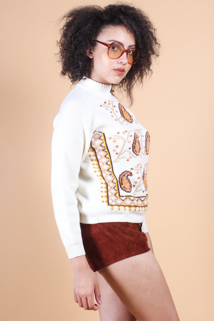 Vintage 1970's Catch the Wind Paisley Sweater