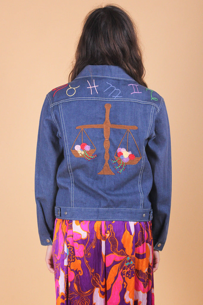 Vintage 1970's Balancing Act Libra Zodiac Embroidered Denim Jacket