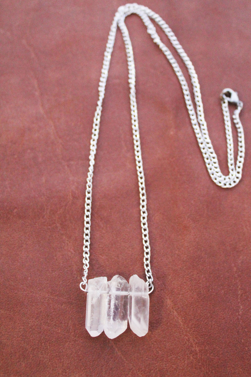 Raw Clear Quartz Silver Necklace