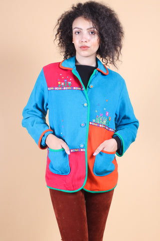 Vintage 1970's Mushroom Dream Embroidered Jacket