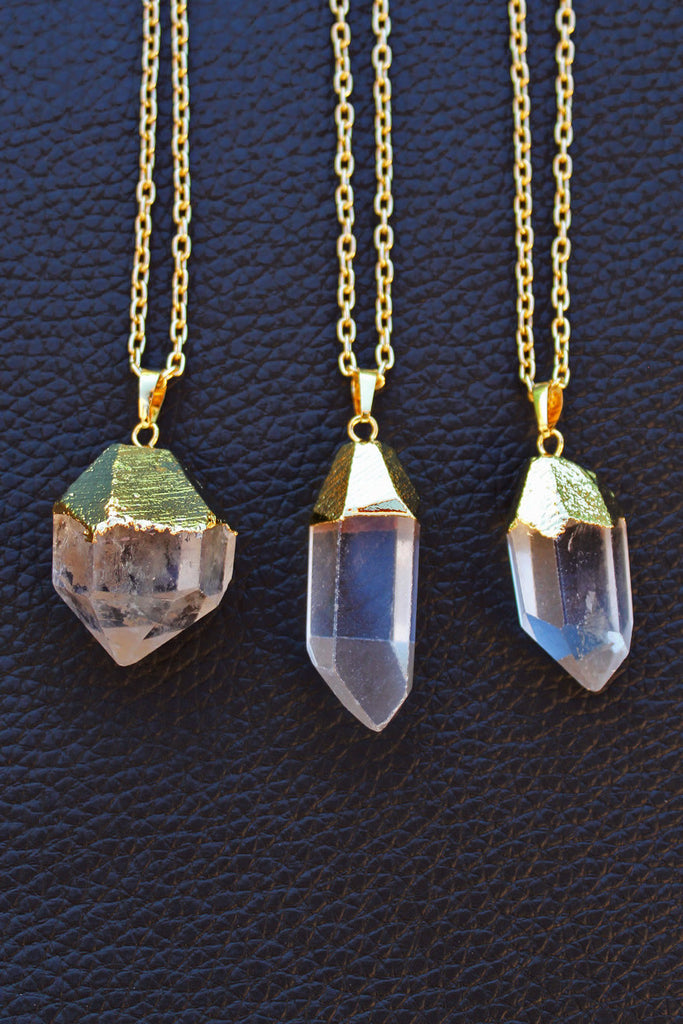 Gold Dipped Raw Clear Quartz Necklace