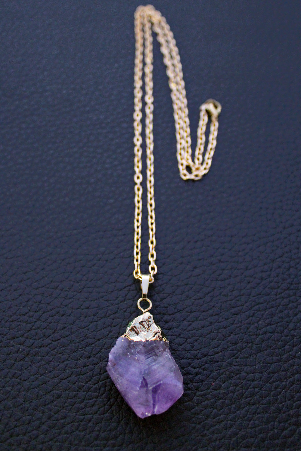 crystal rough pendant necklace druzy cluster amethyst raw
