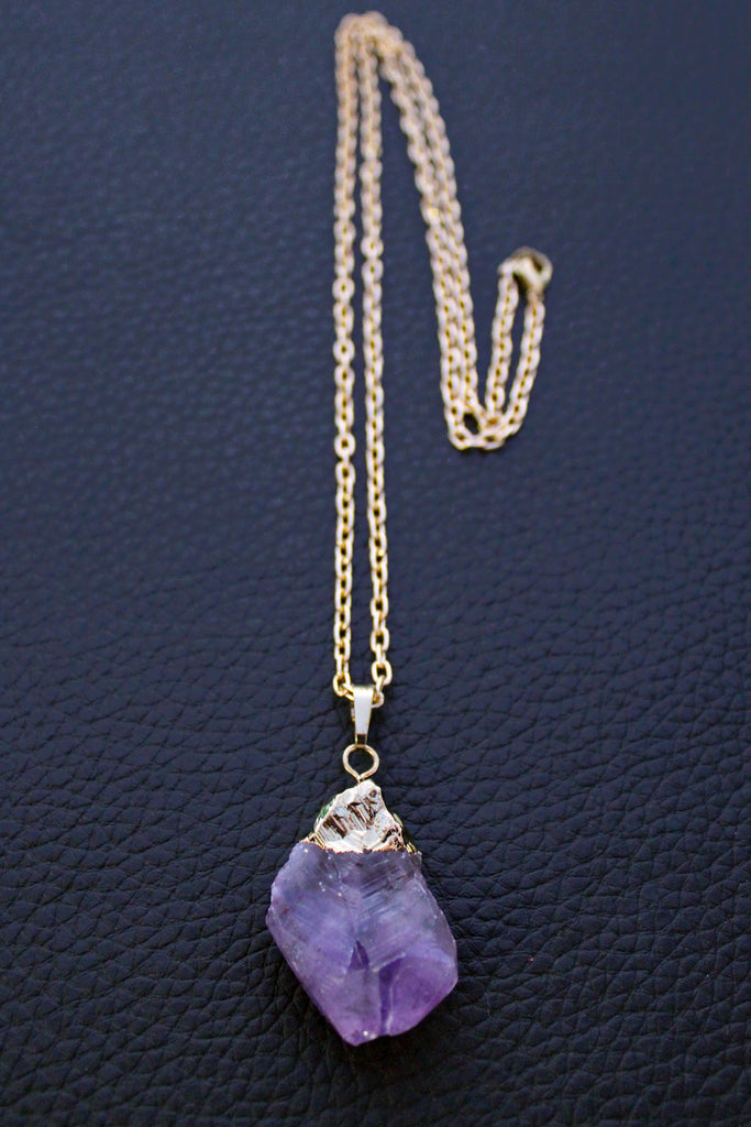 Gold Dipped Raw Amethyst Necklace