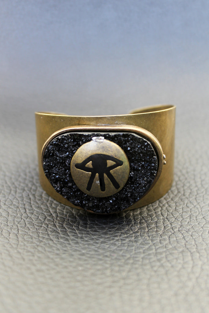 Brass All Seeing Eye Druzy Cuff