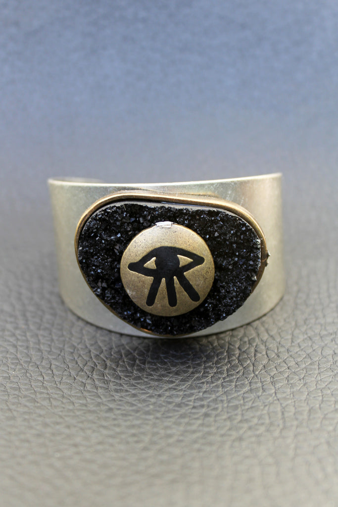Silver All Seeing Eye Druzy Cuff