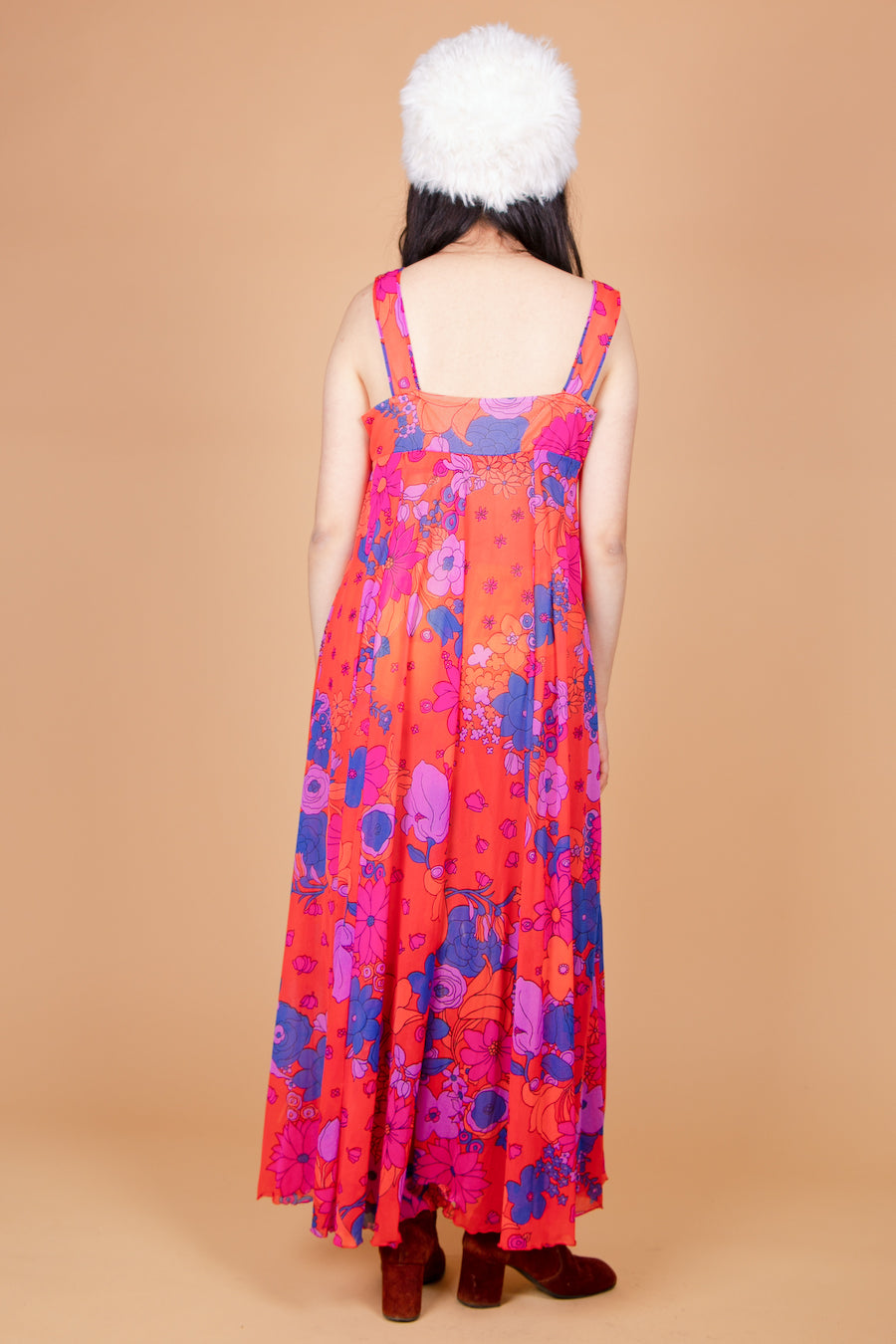 Vintage 1960's Psychedelic Raspberry Dream Maxi-Dress