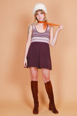 Vintage Violet Sweet Pea Knit Mini-Dress
