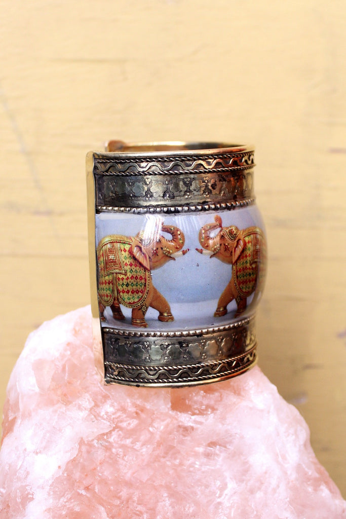 Thus Flows the Ganges Elephant Brass Cuff