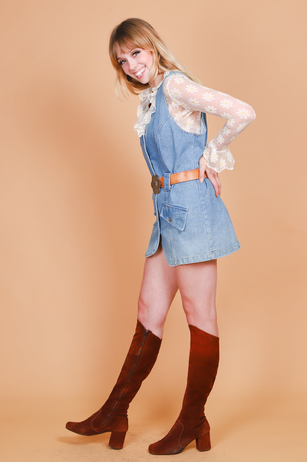 Vintage 1970's Have a Nice Day Denim Mini-Dress