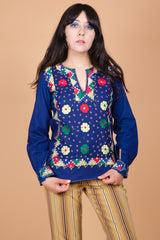 Vintage 1970's Indian Summer Embroidered Top