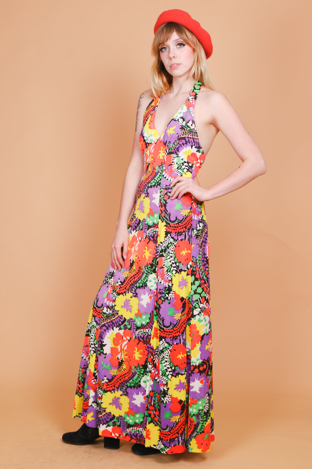 Vintage 1970's Technicolor Garden Maxi-Dress