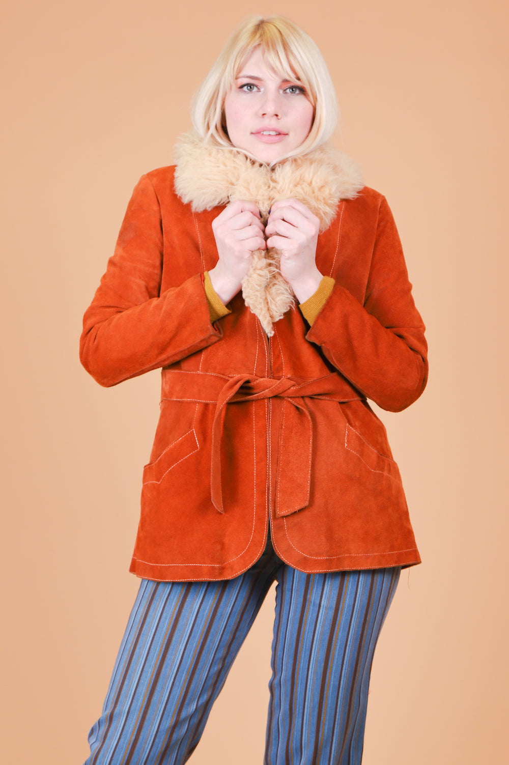 Vintage 1970's Like a Rolling Stone Suede Fur Coat