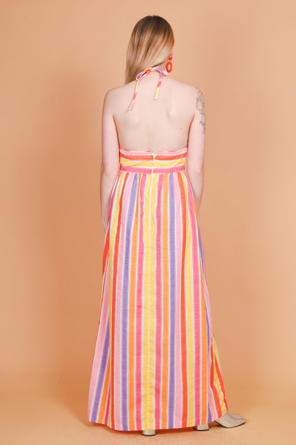 Vintage 1970's Candy Lane Rainbow Maxi-Dress