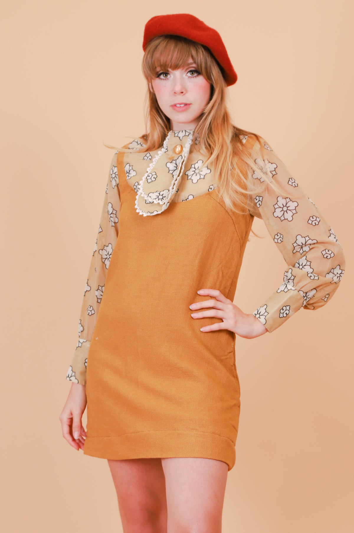 Vintage 1960's Marianne Caramel Mini-Dress