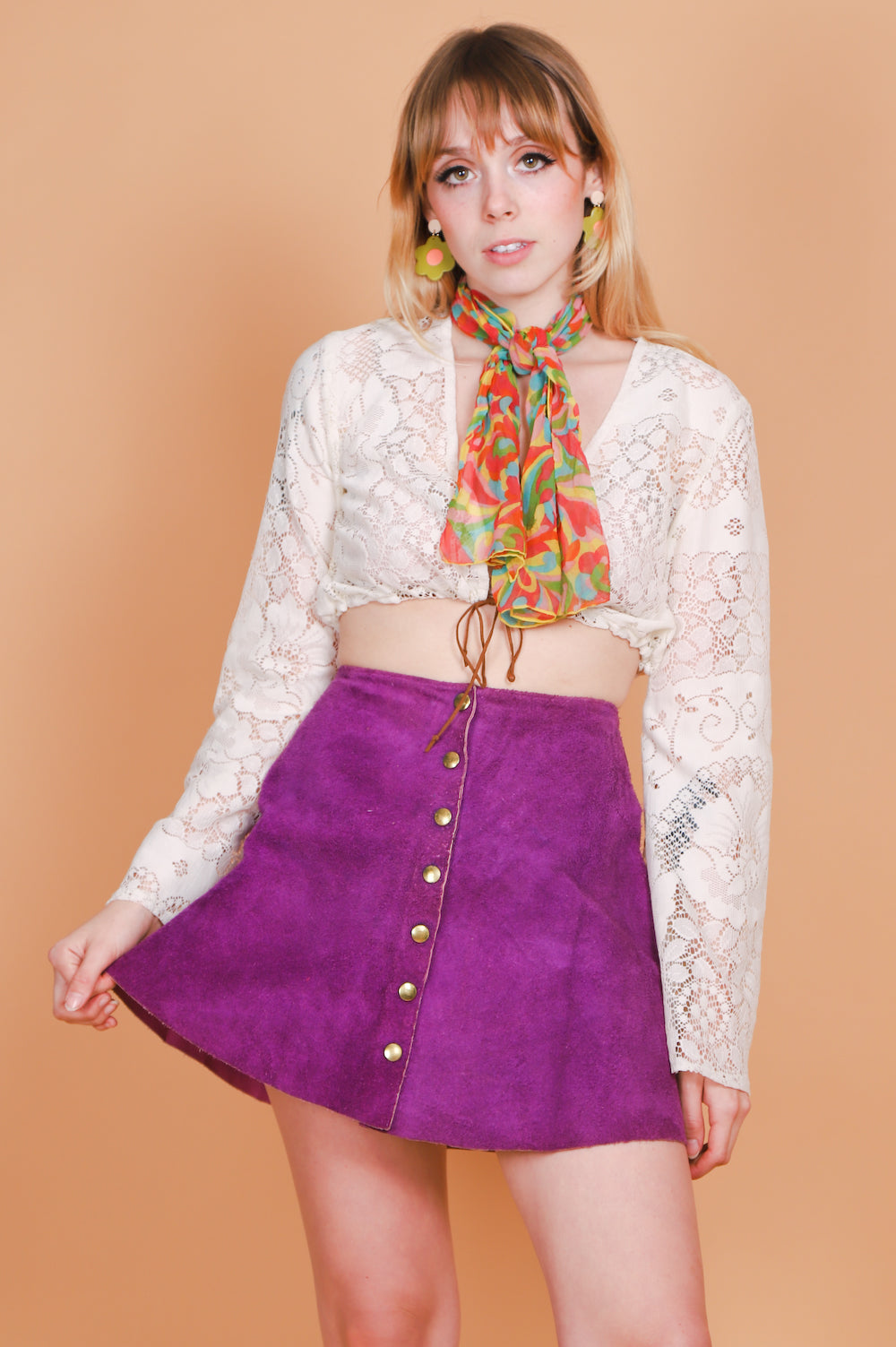 Vintage 1960's Purple Haze Suede Mini-Skirt