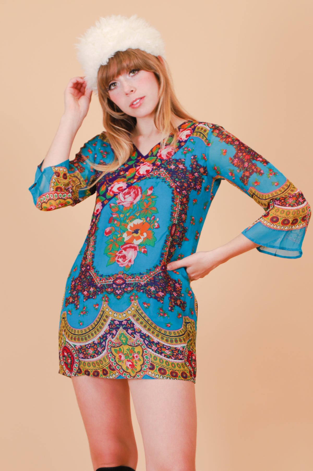 Vintage Landslide Floral Mini-Dress
