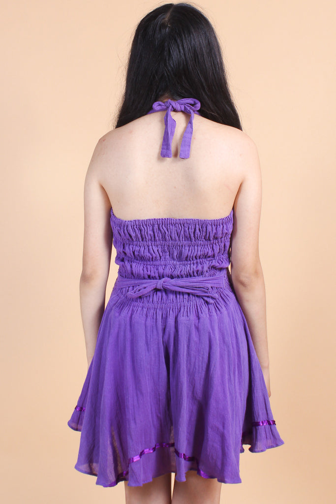 Vintage Fields of Lilac Lovers Mini-Dress