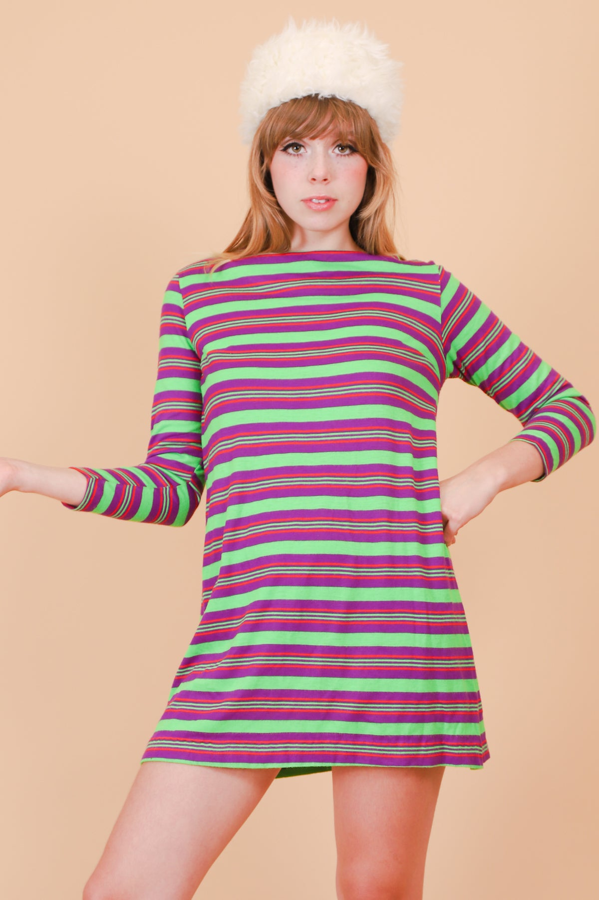 Vintage 1960's Moby Grape Lime Stripe Mini-Dress