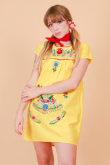 Vintage 1970's Sunshine Daze Floral Embroidered Mini-Dress