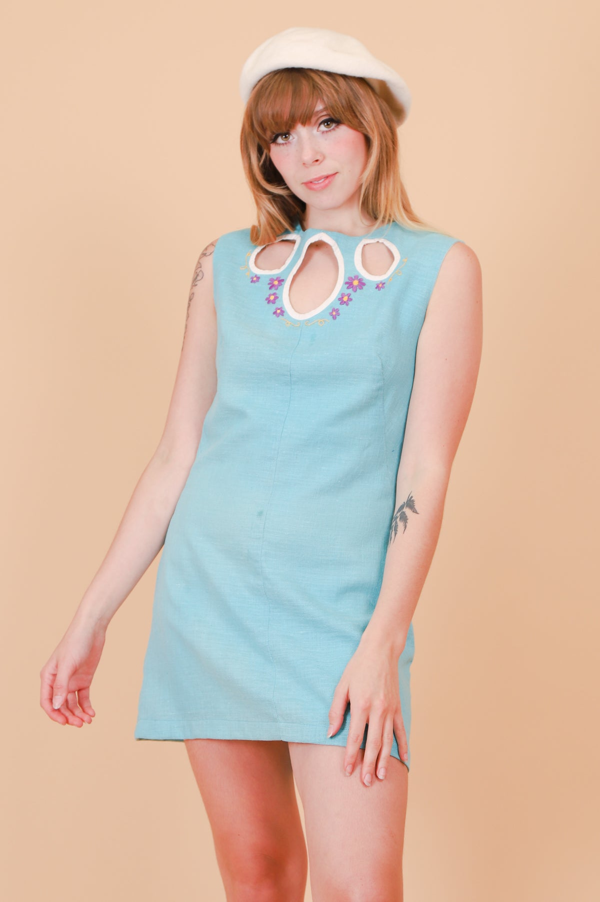Vintage 1960's Forget Me Not Blue Mini-Dress
