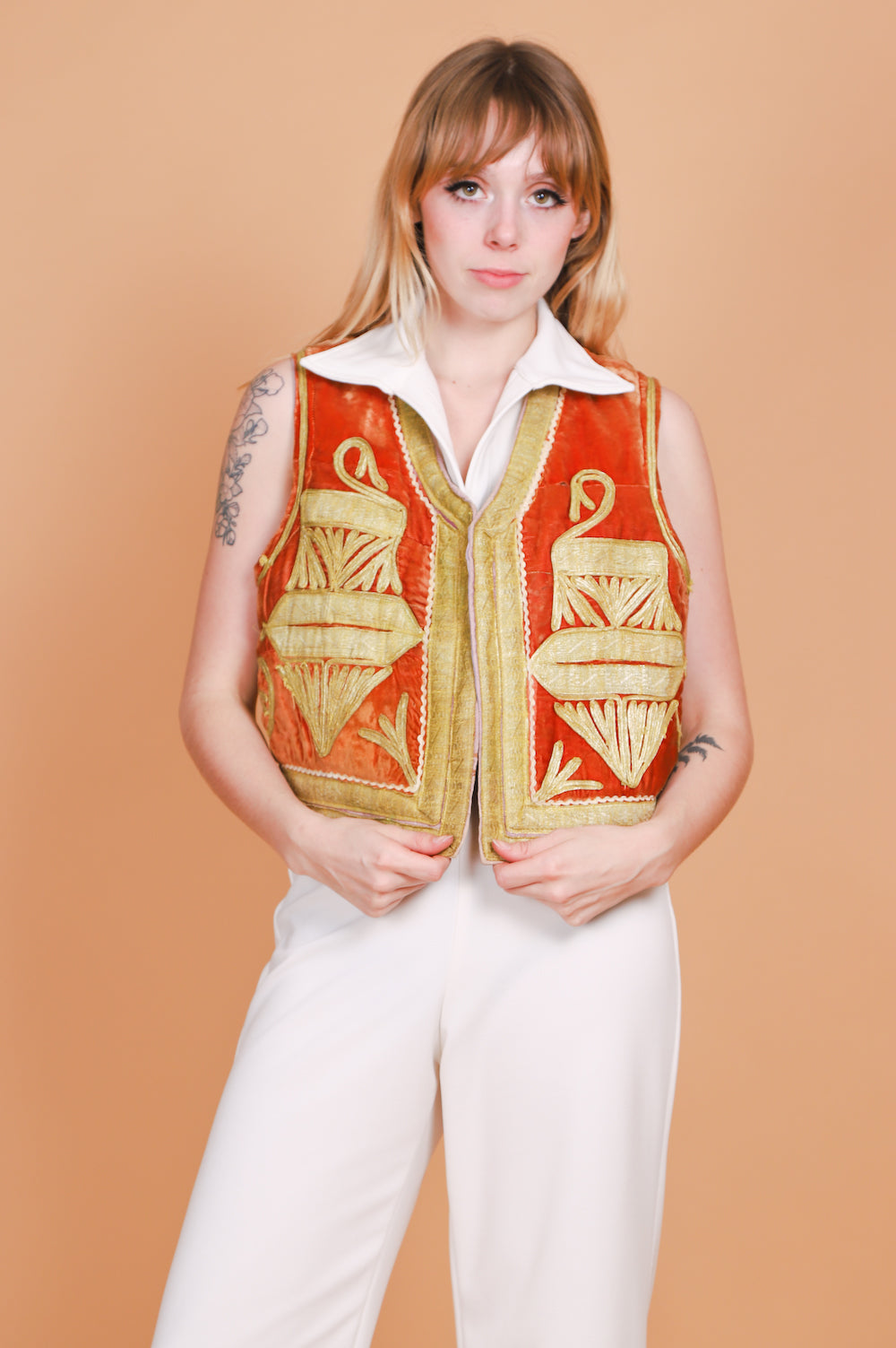 Vintage 1960's Castles Made of Sand Embroidered Velvet Vest