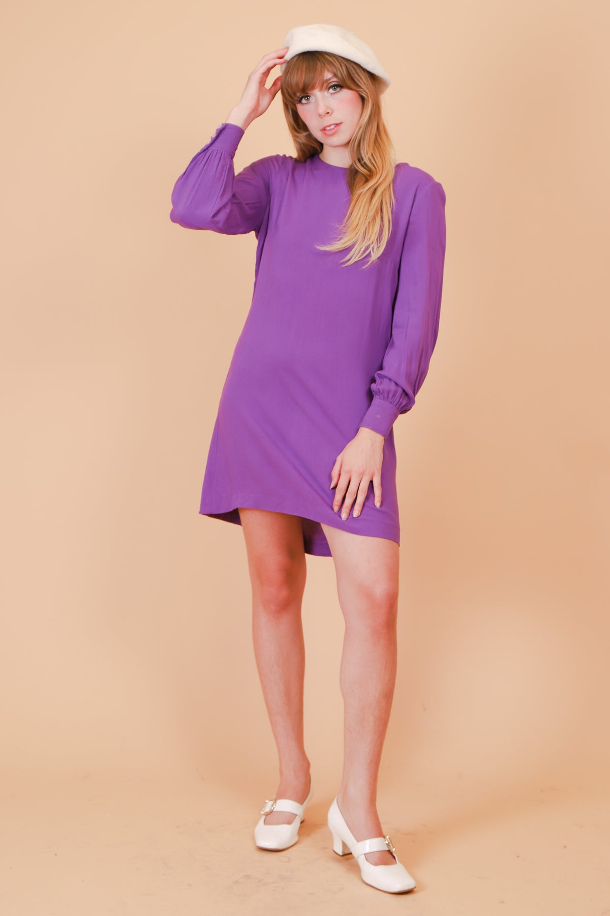 Vintage Lavender Tulips Mini-Dress