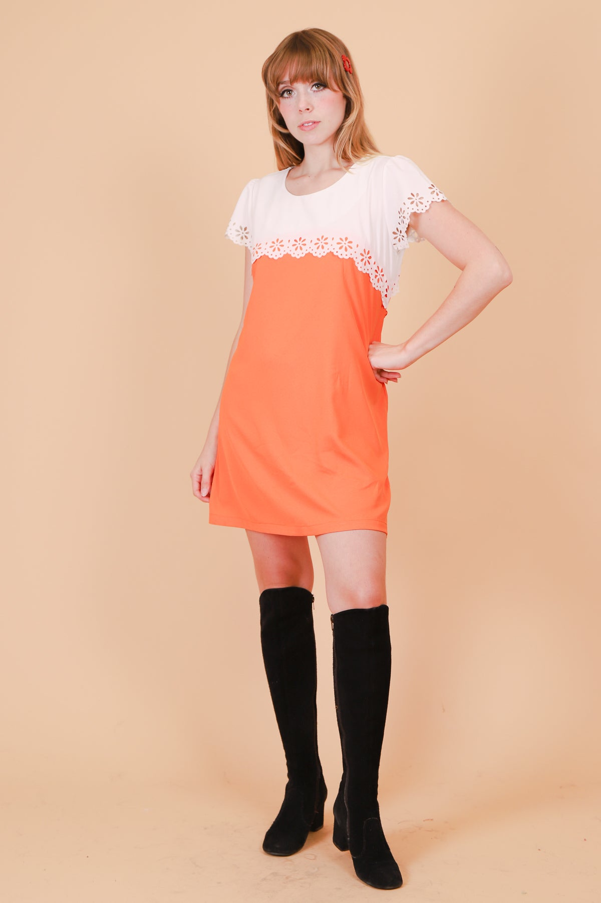 Vintage 1990's Cream Tangerine Mini-Dress