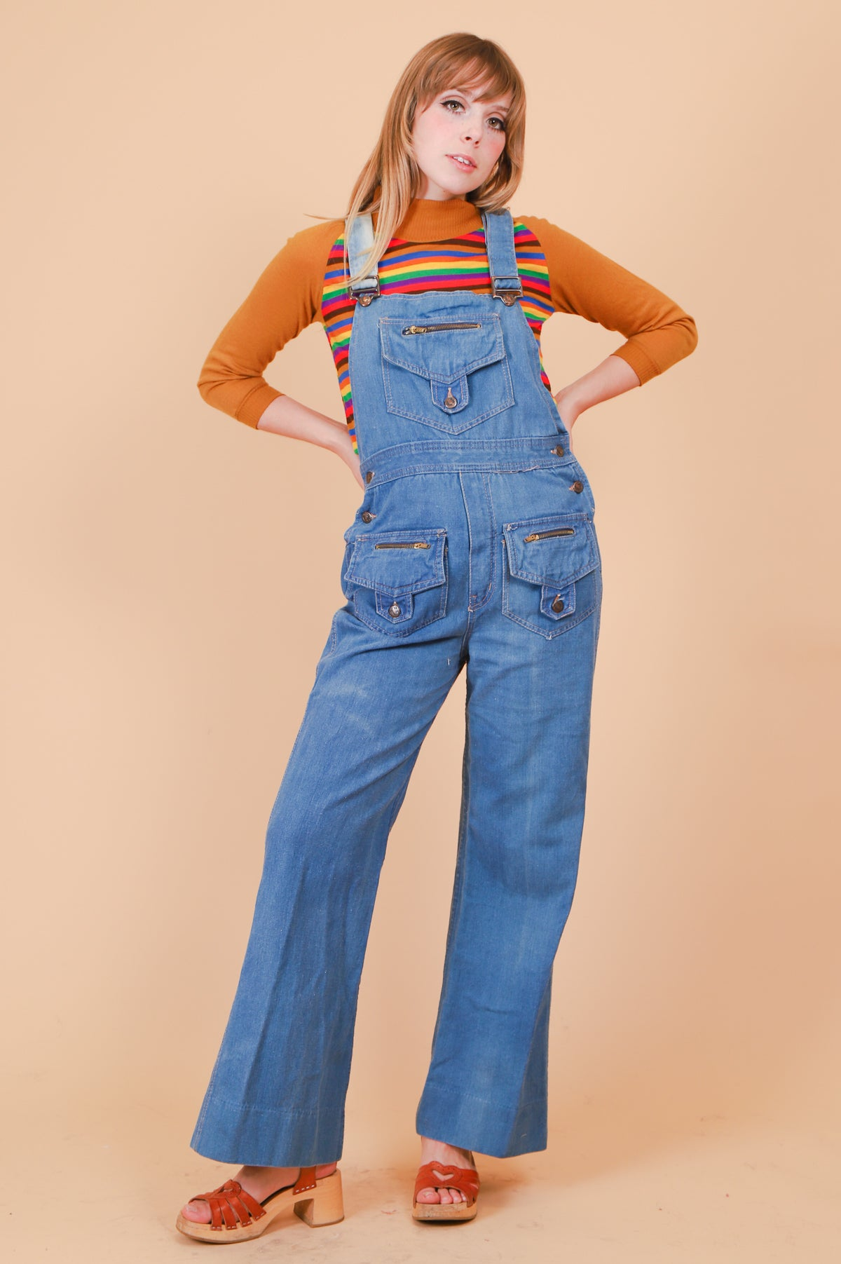 Vintage 1970's Hang Ten Denim Overall Bells