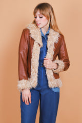 Vintage 1970's Almost Famous Leather Fur Coat