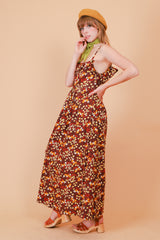 Vintage 1970's All The Leaves Are Brown Maxi-Dress